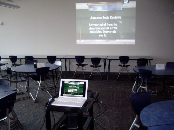 Pod area set up ready for class.